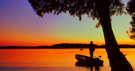 Fishing at sundown on Big Arbor Vitae Lake in Northern Wisconsin